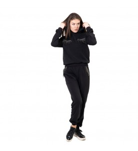 Miroslava Women's Sweatsuit Set with Rhinestones Hoodie Long Sleeve Pullover and Pants Tracksuits size:(10,L,48)