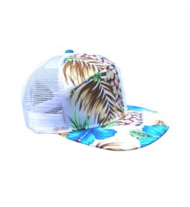 Cap 7 Panel White with a Blue Lilies Adjustable