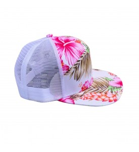Cap 7 Panel White with a Pink Lilies Adjustable