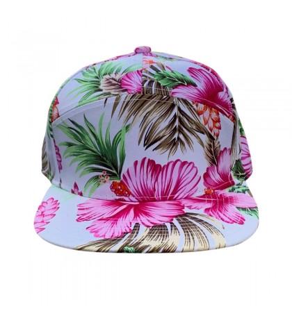 Miroslava 7 Panel Trucker Cap Pink Hawaiian Flower 100% Cotton One Size