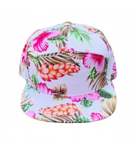 Miroslava 7 Panel Trucker Cap Pink and Orange Hawaiian Flower 100% Cotton One Size