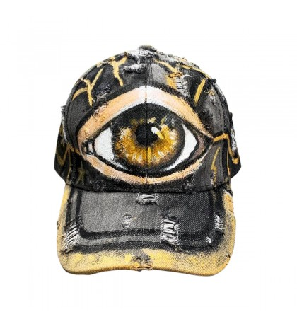 Distressed Denim Baseball Cap.Custom hand-painted by Miroslava. Brown Eye,Charcoal, Golden Metal Buckle. One size