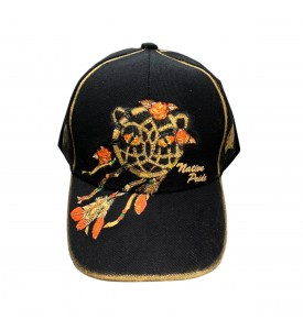 Denim Baseball Cap , Custom hand-painted by Miroslava, One size Black1