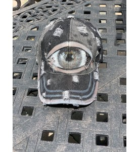 Distressed Denim Baseball Cap. Custom hand-painted by Miroslava. Silver Eye,Charcoal, Golden Metal Buckle. One size