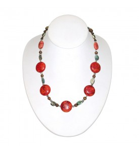 Red Coral Necklace With Natural Red Corals Hand Made  Hawaiian Masters  COR 11