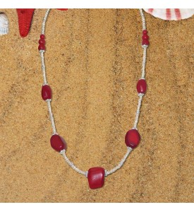 Hawaiian Coral Necklace With Natural Red Corals and Pearls. Hand Made COR 14