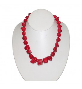 Hawaiian Coral Necklace With Natural Red Corals Hand Made  COR 15