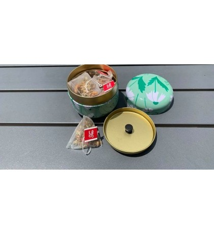 Winter Melon Lotus Leaf Slimming Tea 10 Triangle Bags Mini Tin Cans Gift Package