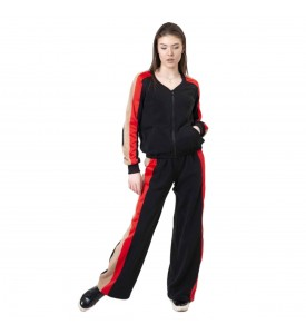 Miroslava Women's Sweatsuit Set with Strips on The Sides Bomber Jacket and Pants Full Zip Sport Suits Tracksuits